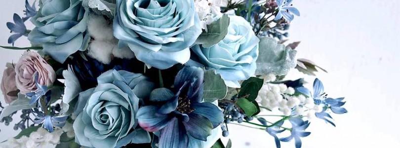 dusty blue 絲花花球