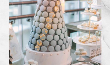 Initial cookies and the ombré blue macaron tower